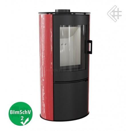 wolnostojący KOZA AB S z wylotem spalin fi 150 z panelami kaflowymi - czerwony