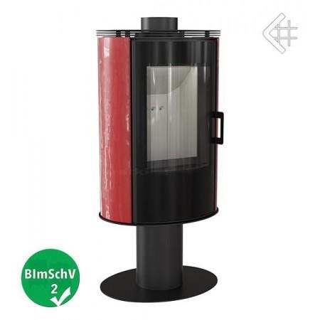 Piec wolnostojący KOZA AB S/N/O GLASS obrotowa z wylotem spalin fi 150 z panelami kaflowymi - czerwony